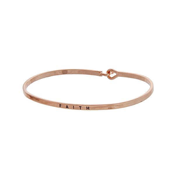 Wholesale rose gold latch bangle bracelet stamped FAITH