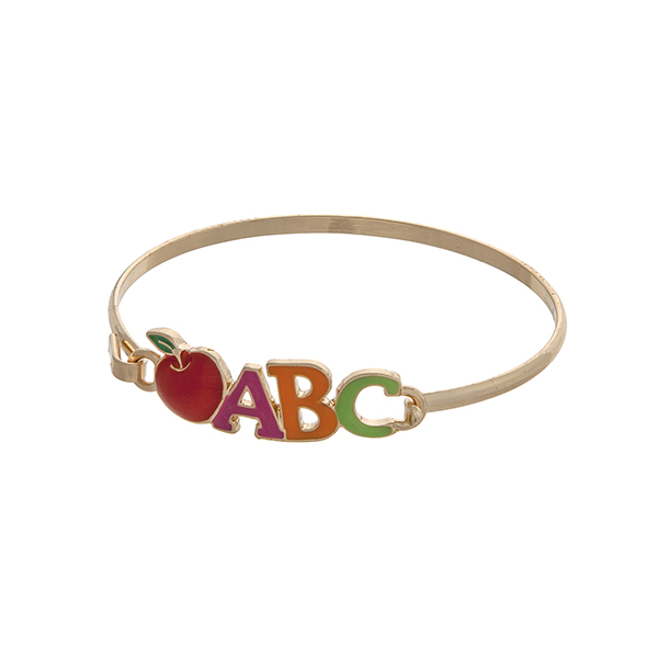 Wholesale gold latch bangle bracelet displaying multicolored ABC red apple Great