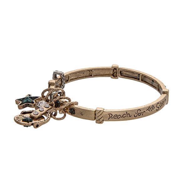 Wholesale gold stretch bangle bracelet stamped Reach Star displaying star charm