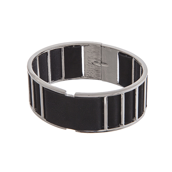 Wholesale gold cuff bracelet displaying black fabric back spring lever