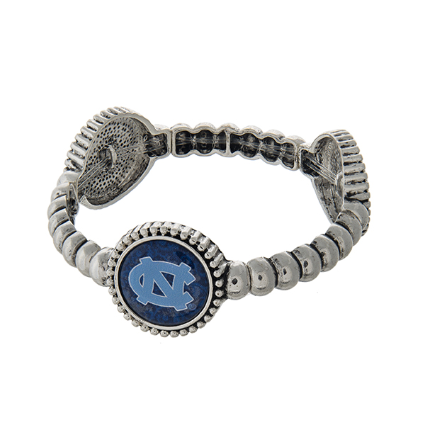 Officially licensed silver tone  University of North Carolina stretch bracelet with three stations. Our exclusive design.