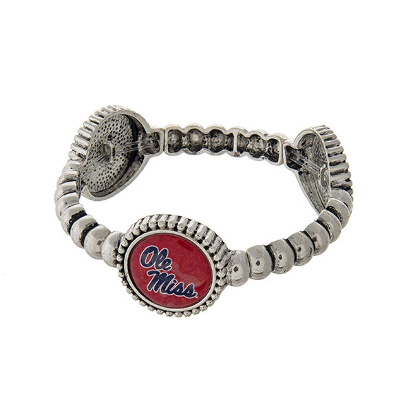 Officially licensed silver tone Ole Miss stretch bracelet with three stations. Our exclusive design.