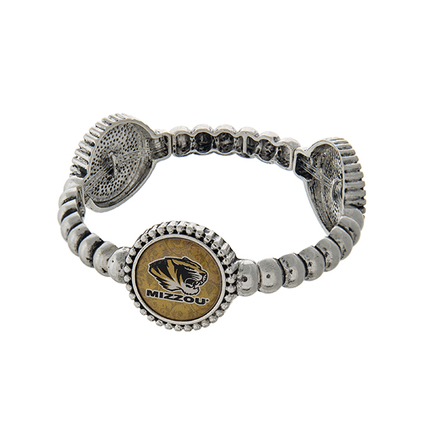 Officially licensed silver tone  University of Missouri stretch bracelet with three stations. Our exclusive design.
