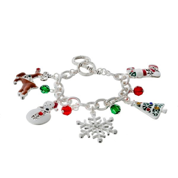 Wholesale silver toggle bracelet Christmas themed charms