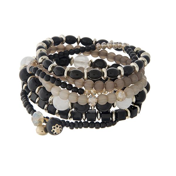 Wholesale black beaded stretch bracelet set tassels gold hardware