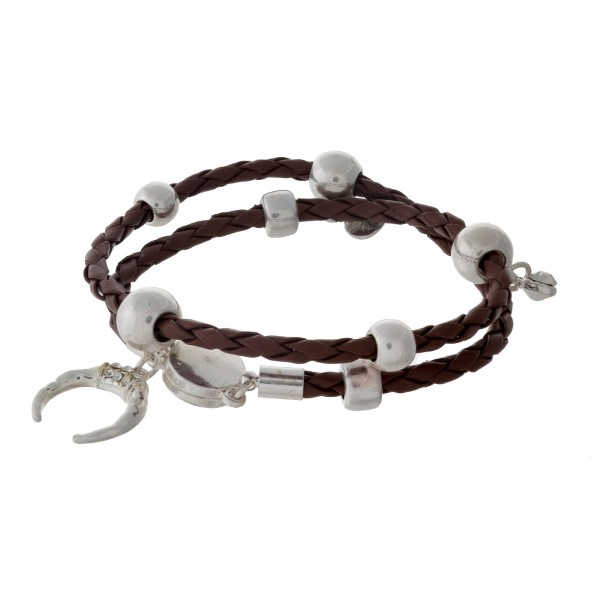 Brown braided cord wrap bracelet with silver tone hardware.