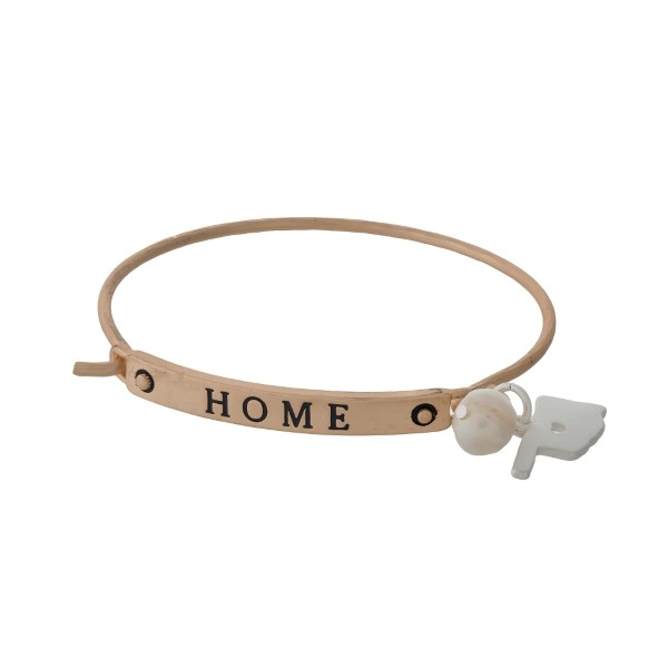 "Gold tone bangle bracelet stamped with ""HOME"" and displaying the state of Oklahoma charm."