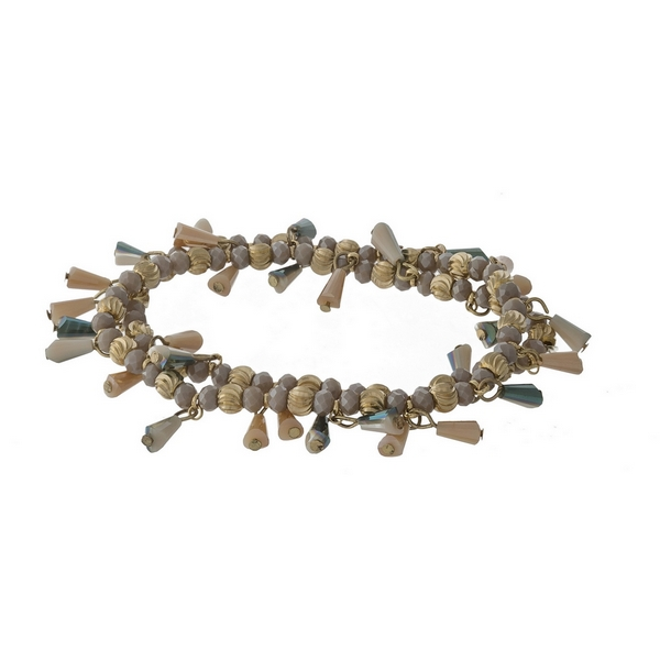Wrap stretch bracelet with gray and ivory beads and gold tone hardware.