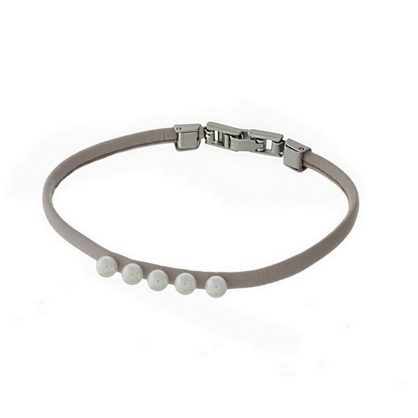 Thin gray faux leather bracelet with five pearl beads and a hook closure.
