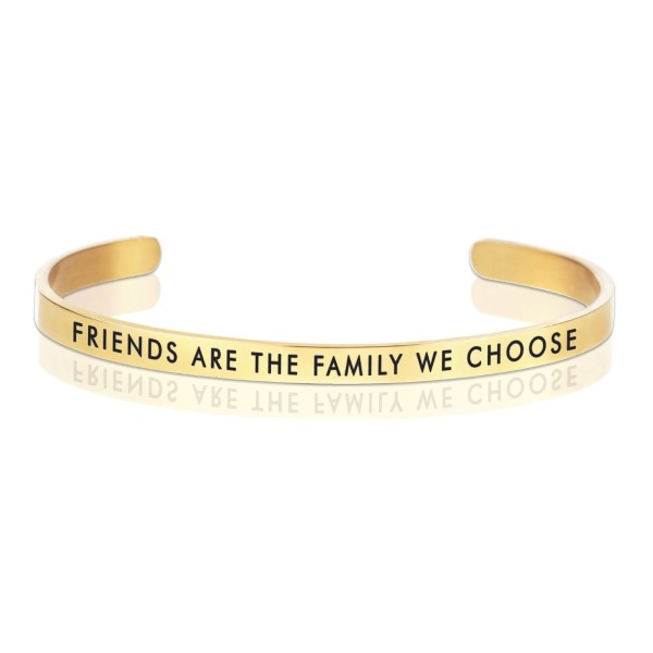 Wholesale gold cuff bracelet stamped Friends family we choose