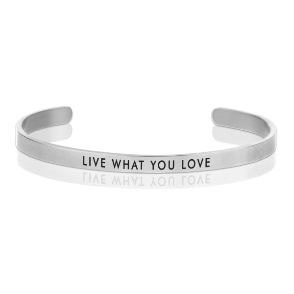 Wholesale silver cuff bracelet stamped Live What Love