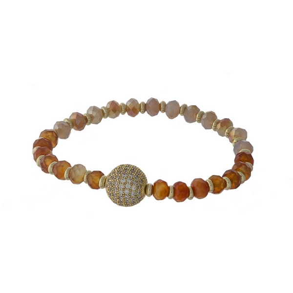 Carnelian and ivory beaded stretch bracelet with a gold tone pave ball focal.