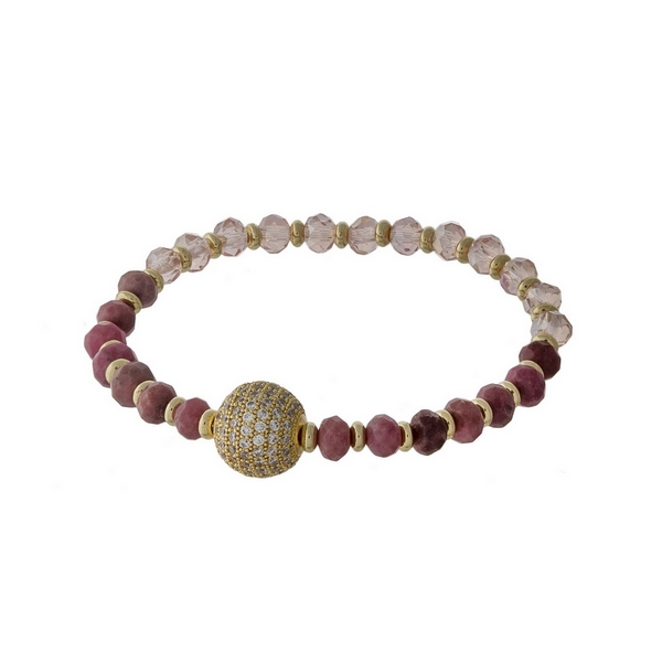 Rhodonite and pink beaded stretch bracelet with a gold tone pave ball focal.