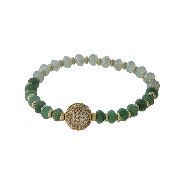 Jade and mint green beaded stretch bracelet with a gold tone pave ball focal.