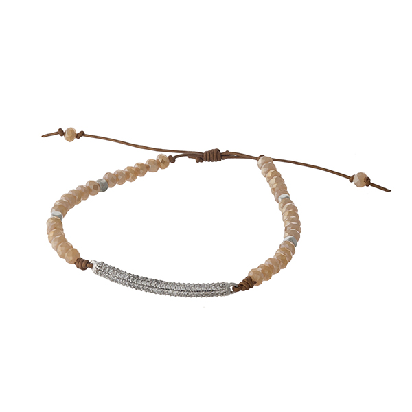 Adjustable waxed cord bracelet with topaz beads and a pave bar. Handmade in the USA.