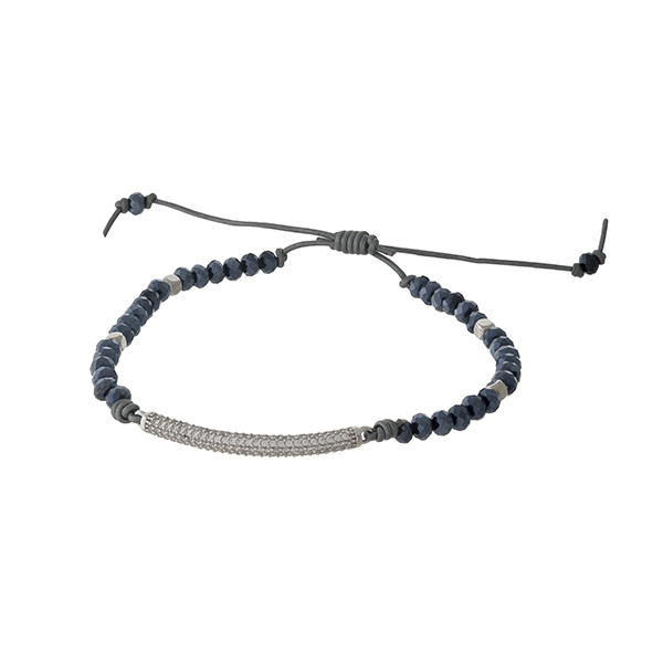 Adjustable waxed cord bracelet with hematite beads and a pave bar. Handmade in the USA.