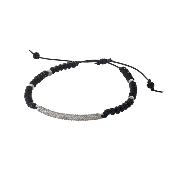 Adjustable waxed cord bracelet with black beads and a pave bar. Handmade in the USA.