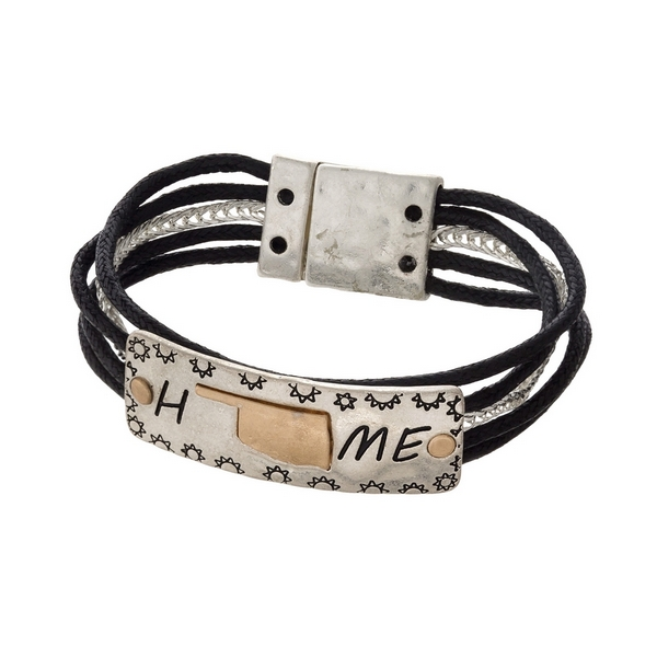 """Silver tone and black cord bracelet displaying  a """"Home"""" focal and a gold tone state shape of Oklahoma."""