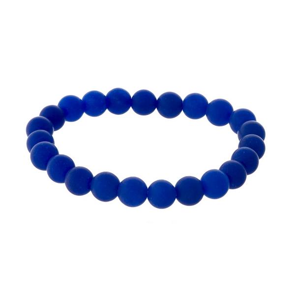 Royal blue, natural stone beaded stretch bracelet.