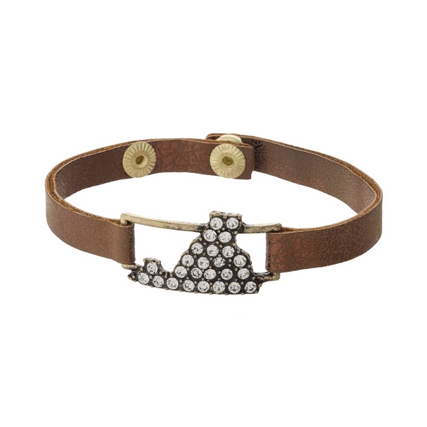 Bronze faux leather snap bracelet with the state shape of Virginia, accented by clear rhinestones.