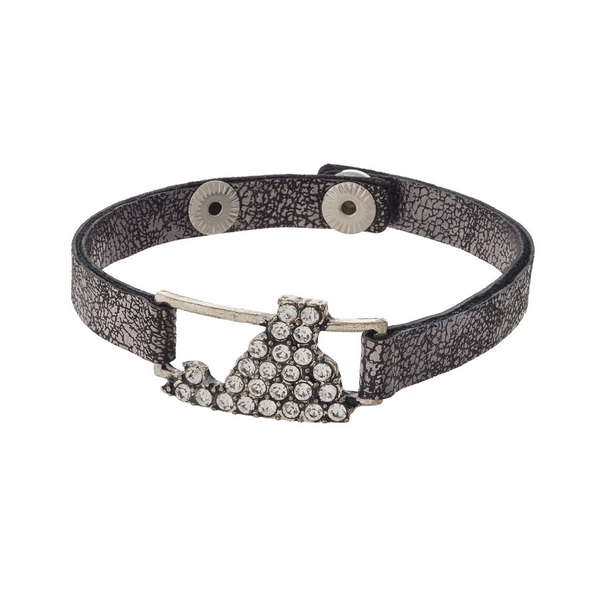 Gunmetal gray, faux leather snap bracelet with the state shape of Virginia, accented by clear rhinestones.