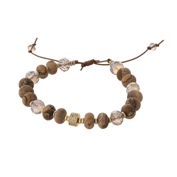 Brown waxed cord adjustable bracelet with picture jasper natural stone beads and topaz faceted beads. Handmade in the USA.