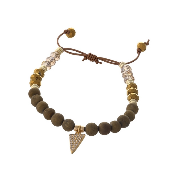 Brown waxed cord adjustable bracelet with bronze natural stone beads and a triangle charm. Handmade in the USA.