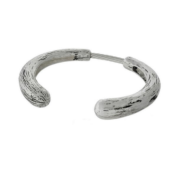 Wholesale silver cuff bracelet bendable spring brushed