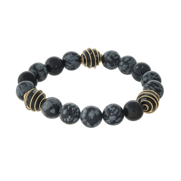 Wholesale black gray natural stone beaded stretch bracelet gold wire accents
