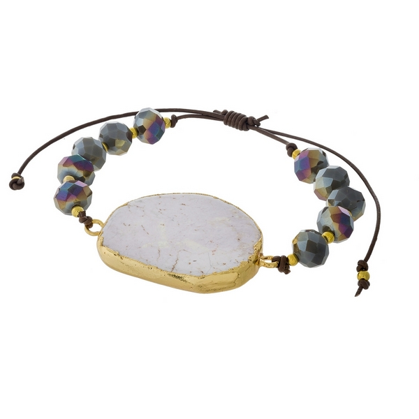 Brown and gray beaded pull-tie bracelet featuring a white marbled natural stone focal. Handmade in the USA.