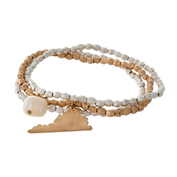 Two tone stretch bracelet with a state of Virginia and freshwater pearl bead charm.