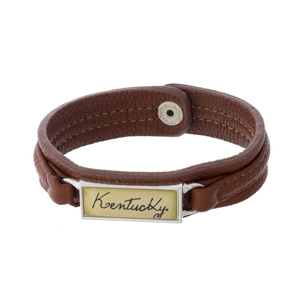 """Officially licensed, University of Kentucky brown faux leather snap bracelet with a silver tone bar saying """"Kentucky."""""""