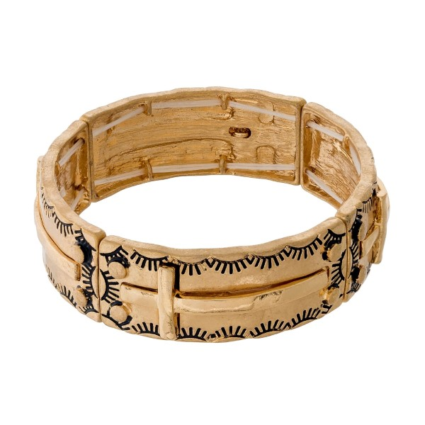 Wholesale burnished gold stretch bracelet crosses