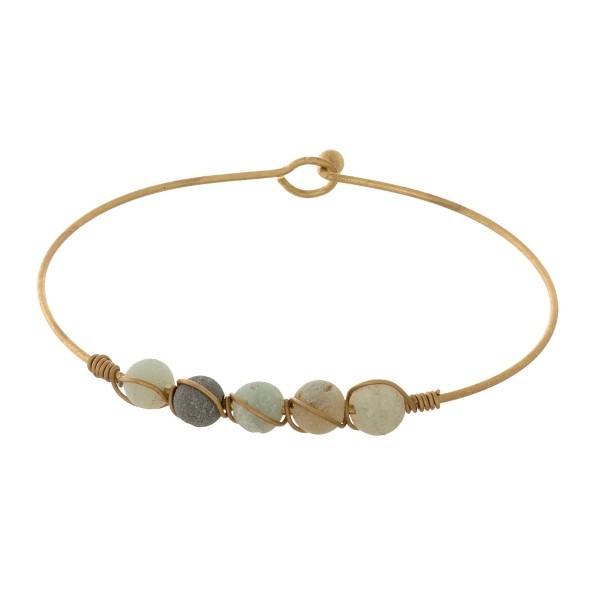 "Semi Precious Wire Bangle Bracelet.  - Hook Closure - Approximately 3"" in Diameter"