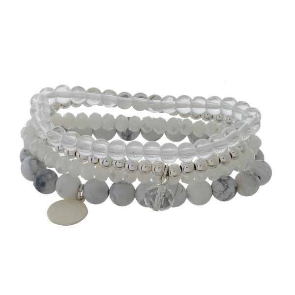 Wholesale four piece stretch bracelet set faceted natural stone beads hammered c