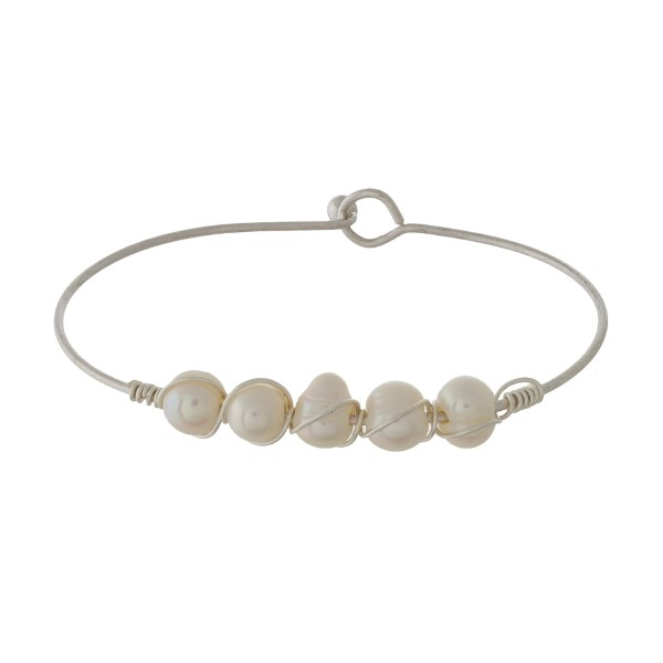 "Ivory Pearl Wire Bangle Bracelet.  - Hook Closure - Approximately 3"" in Diameter"