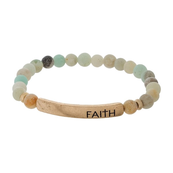 "Natural Stone Beaded Faith Bar Stretch Bracelet.  - Focal 1.5""  - Bead Size: 5mm - Approximately 3"" in Diameter"