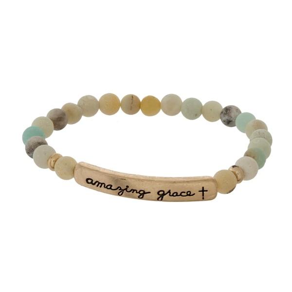 Wholesale beaded stretch bracelet bar stamped amazing grace