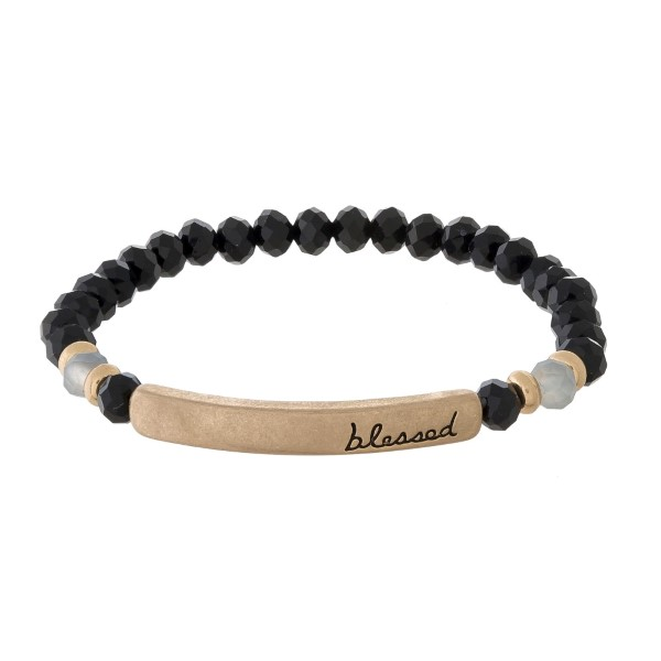 Wholesale beaded stretch bracelet bar stamped blessed