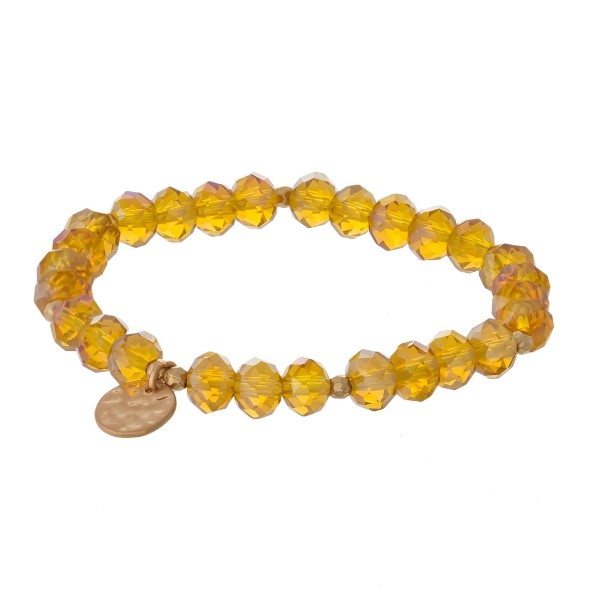 Wholesale faceted bead stretch bracelet hammered gold circle charm