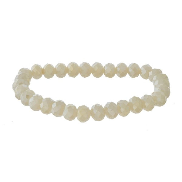"""Beaded stretch bracelet featuring faceted bead details. Approximately 3"""" in diameter unstretched. Fits up to a 6"""" wrist."""