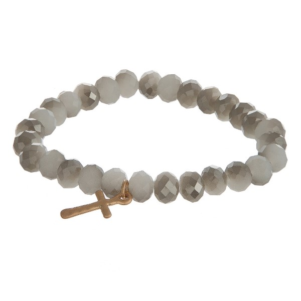 Wholesale stretch bracelet faceted beads cross charm