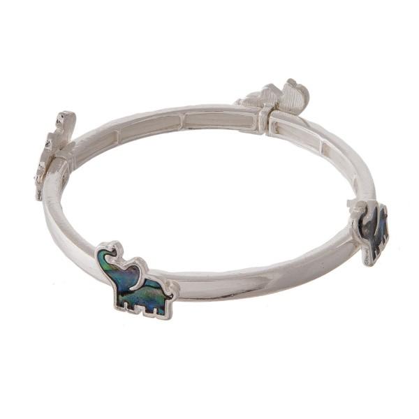 Metal stretch bracelet with elephant focal.