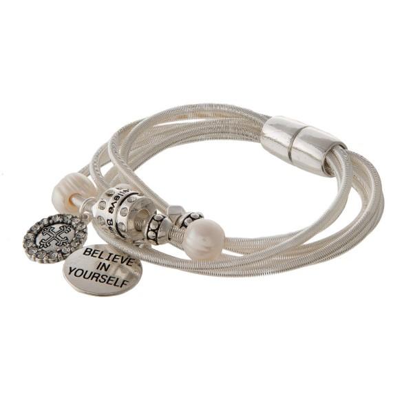 Wholesale metal cord bracelet magnetic closure stamped Believe Yourself