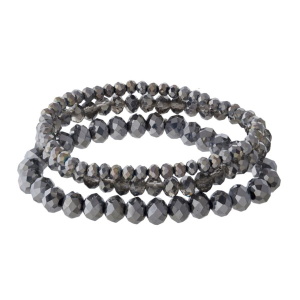 Faceted bead stretch bracelet set.