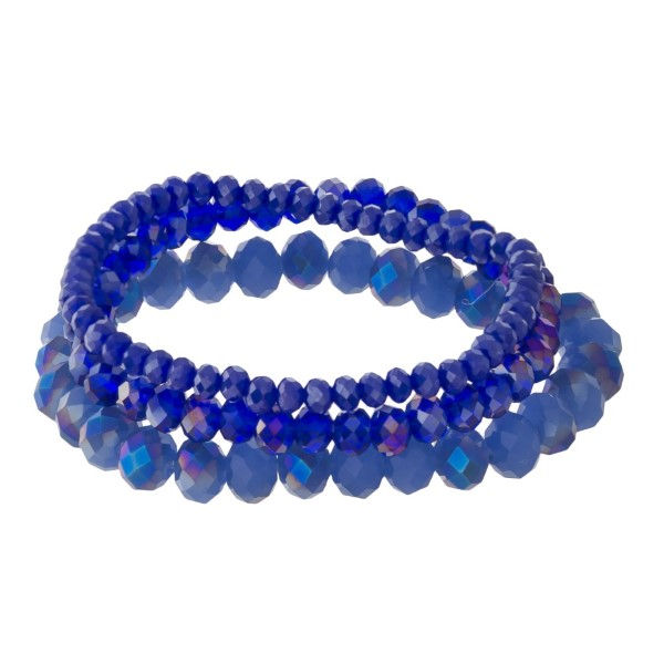 Wholesale stretch bracelet set faceted beads Approximate