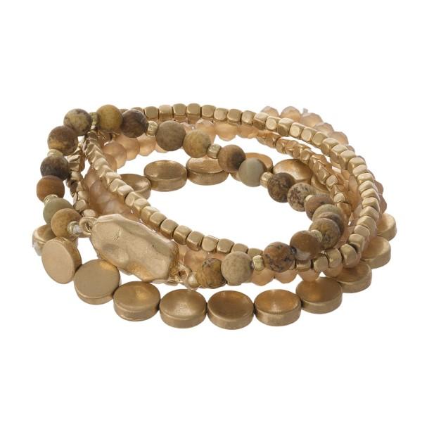 Wholesale natural stone gold beaded bracelet set
