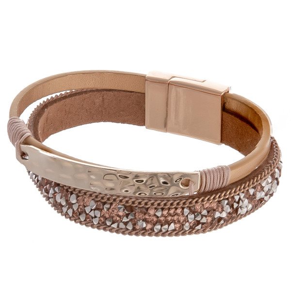 Wholesale faux leather bracelet gold hammered rhinestone details magnetic clasp