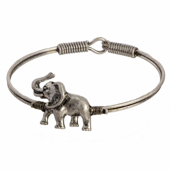 Metal bracelet with elephant focal.