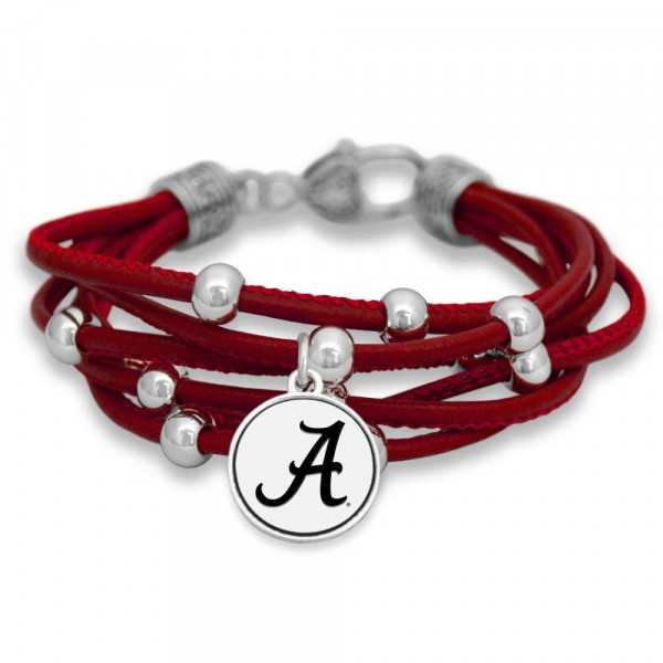 Wholesale officially licensed collegiate faux leather cord bracelet university l